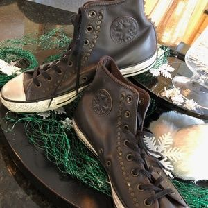 NEW Converse All Star leather Hi-tops Studs 11